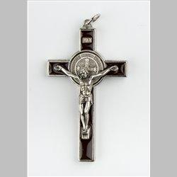 Croix St Benoit résine couleur, livrée en boîte avec notice et Cordon.
