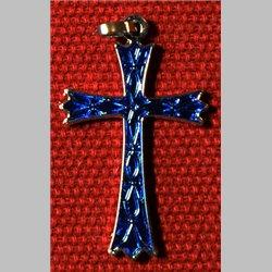 Croix rhodié bleu