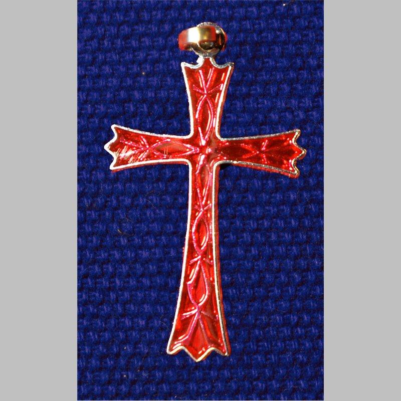 Croix rhodié bleu ou rouge